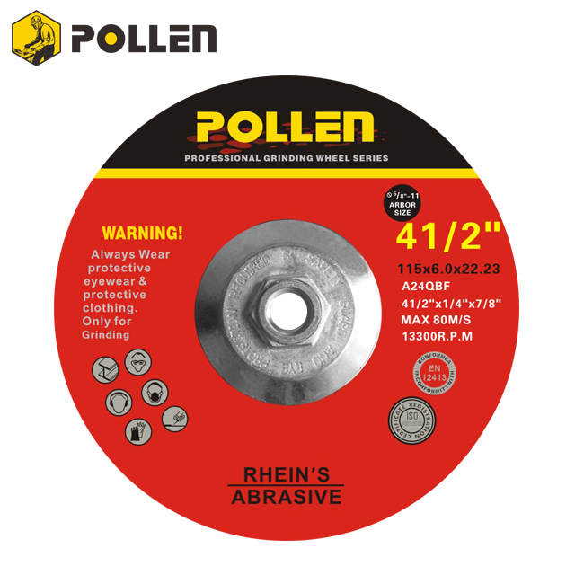 "4-1/2 Inch, Pollen Hubbed Grinding Wheel, 5/8""-11 Arbor Hole, 24 Grit,10Pack"
